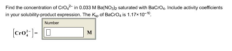 Find the concentration of CrO42- in 0.033 M Ba(N03