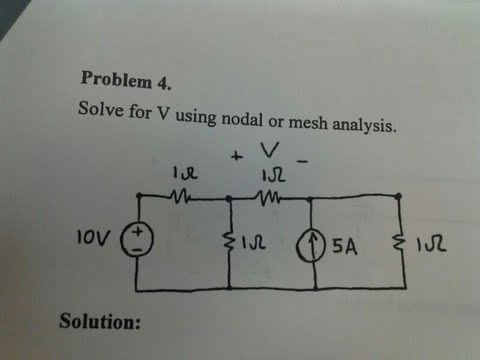 Solve for V using nodal or mesh analysis.