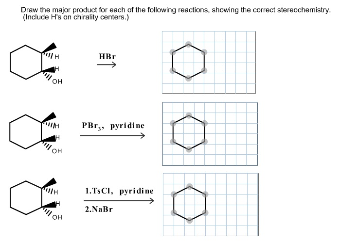 Draw the major product for each of the following r