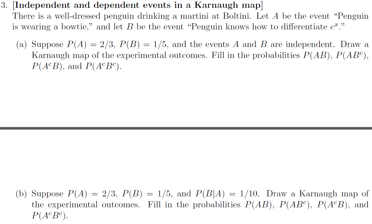 [Independent and dependent events in a Karnaugh ma