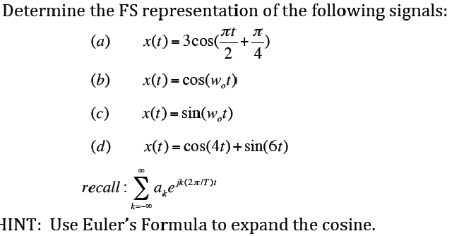 Determine the FS representation of the following s
