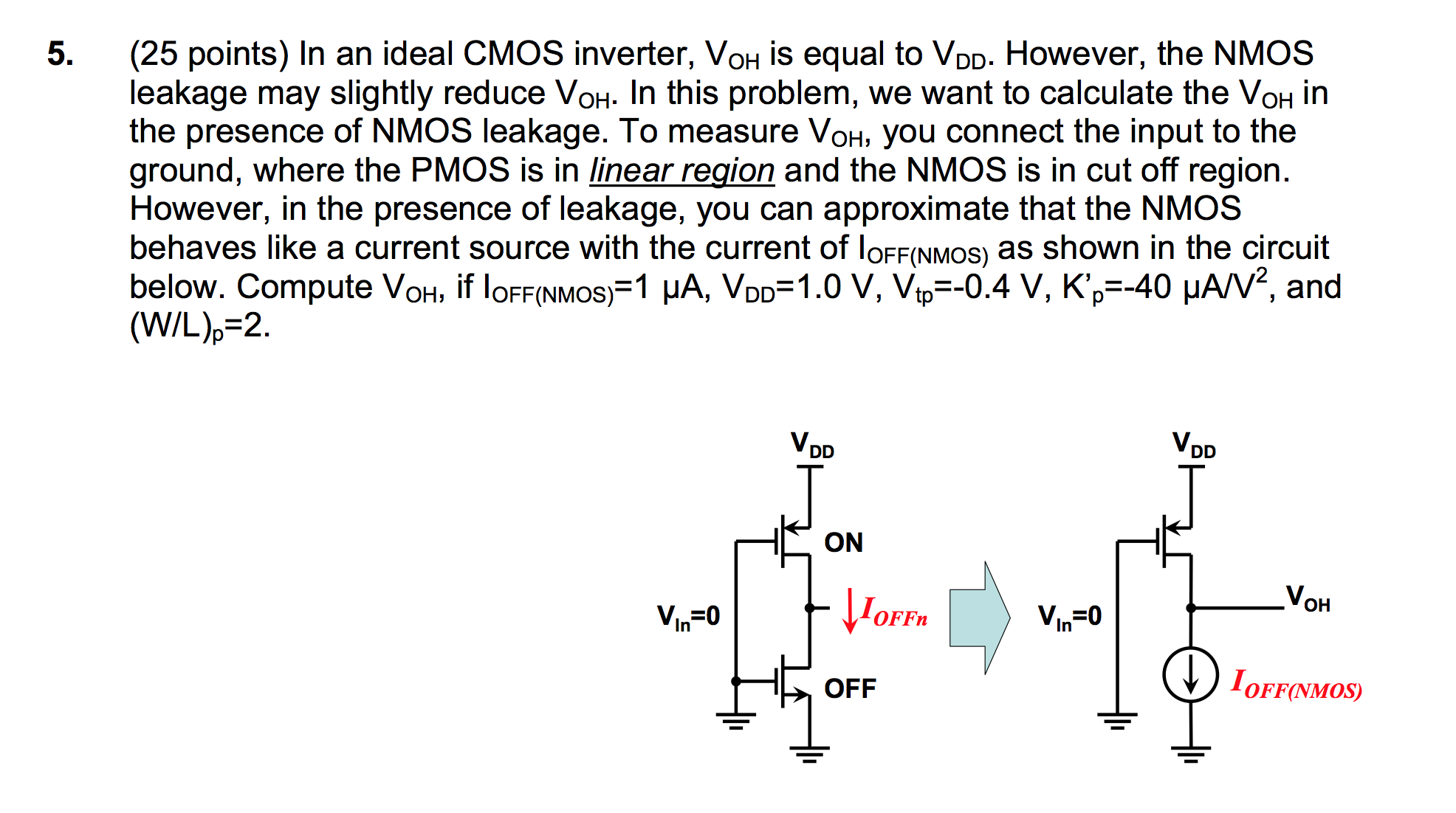 In an ideal CMOS inverter, VOH is equal to VDD. Ho