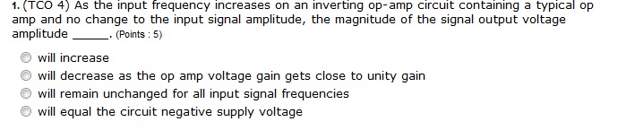 As the input frequency increases on an inverting o