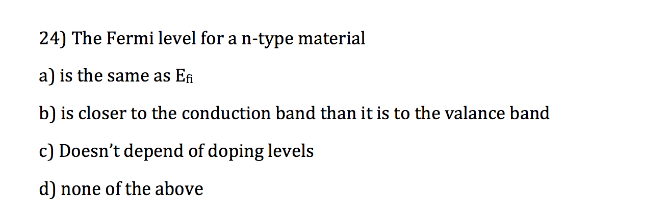 The Fermi level for a n-type material is the same