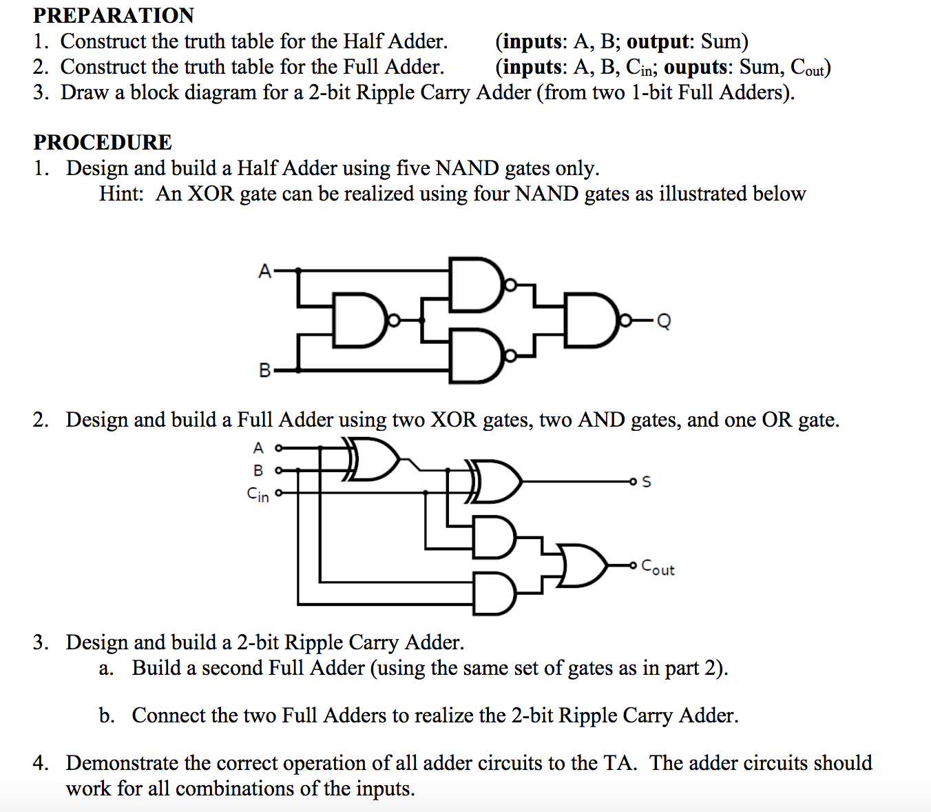Block Diagram Bcd Adder: Solved: Construct The Truth Table For The Half Adder. (inp