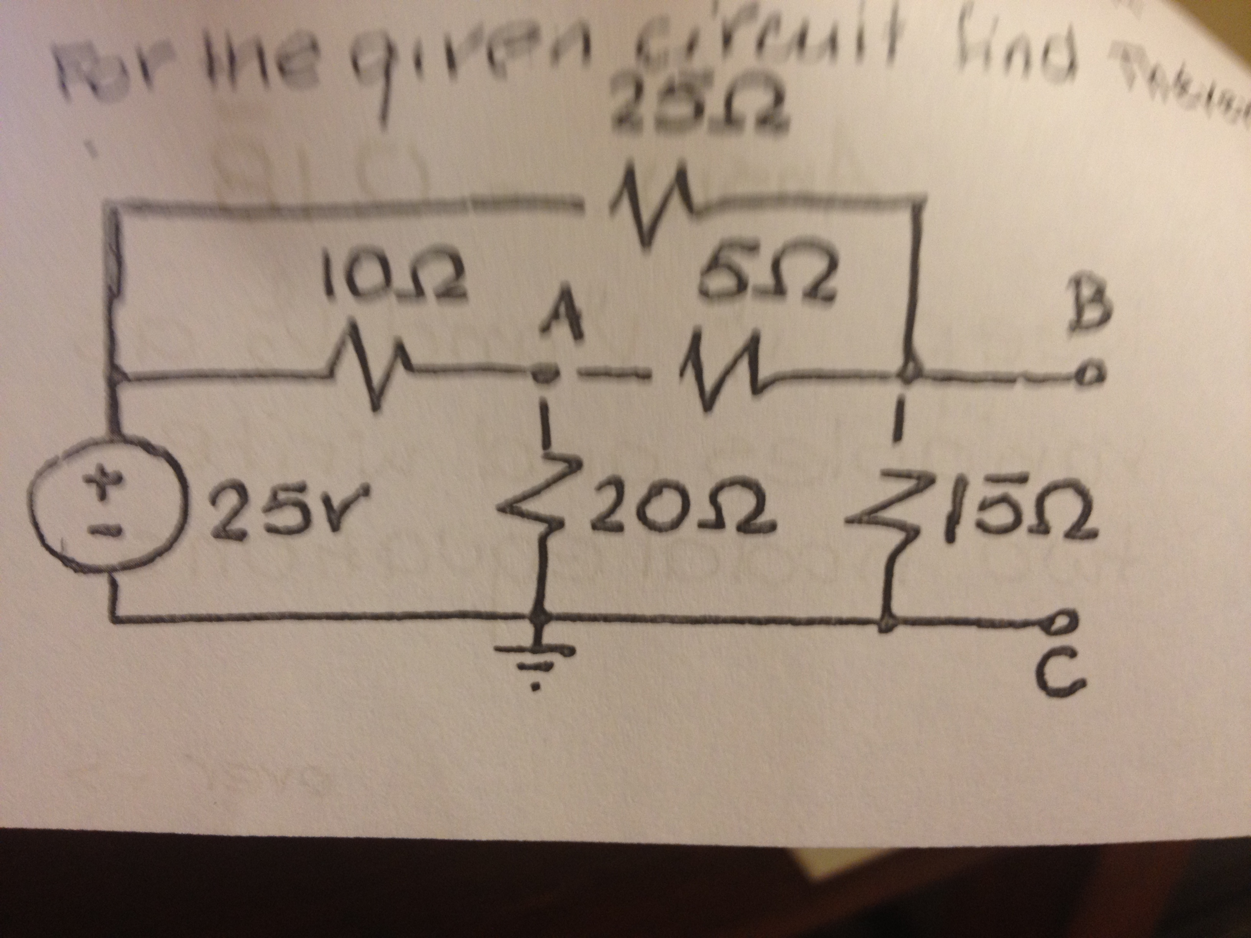 For the given circuit find Thevenin and Nortan equ