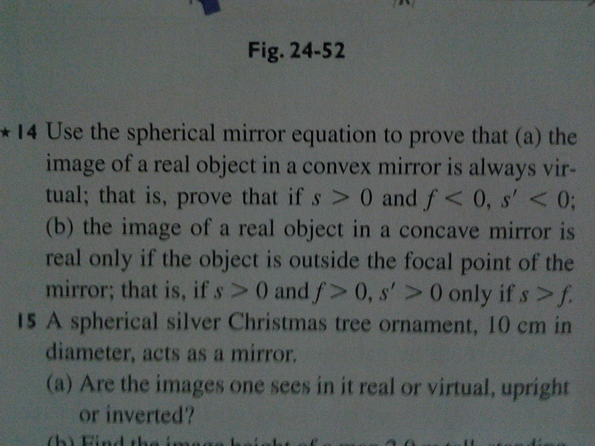 Solved use the spherical mirror equation to prove that a for Mirror questions
