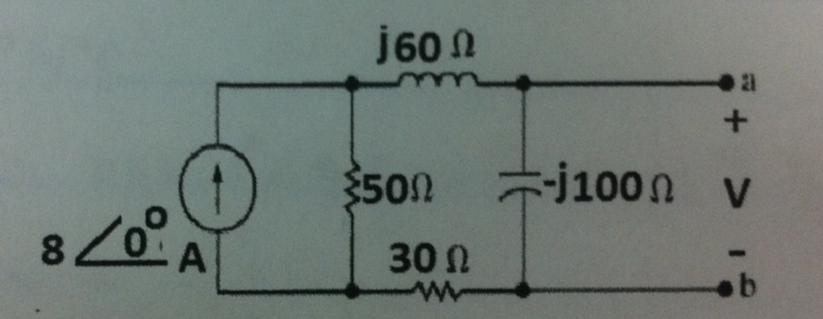 Find the phasor voltage (V)
