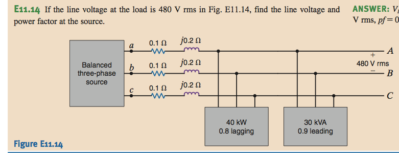 If the line voltage at the load is 480 V rms in Fi