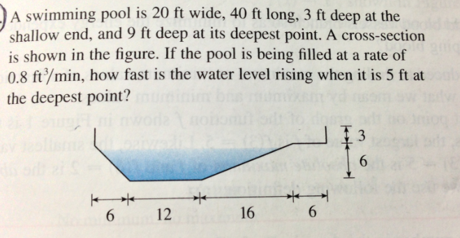 a swimming pool is 20 ft wide 40 ft long 3 ft de
