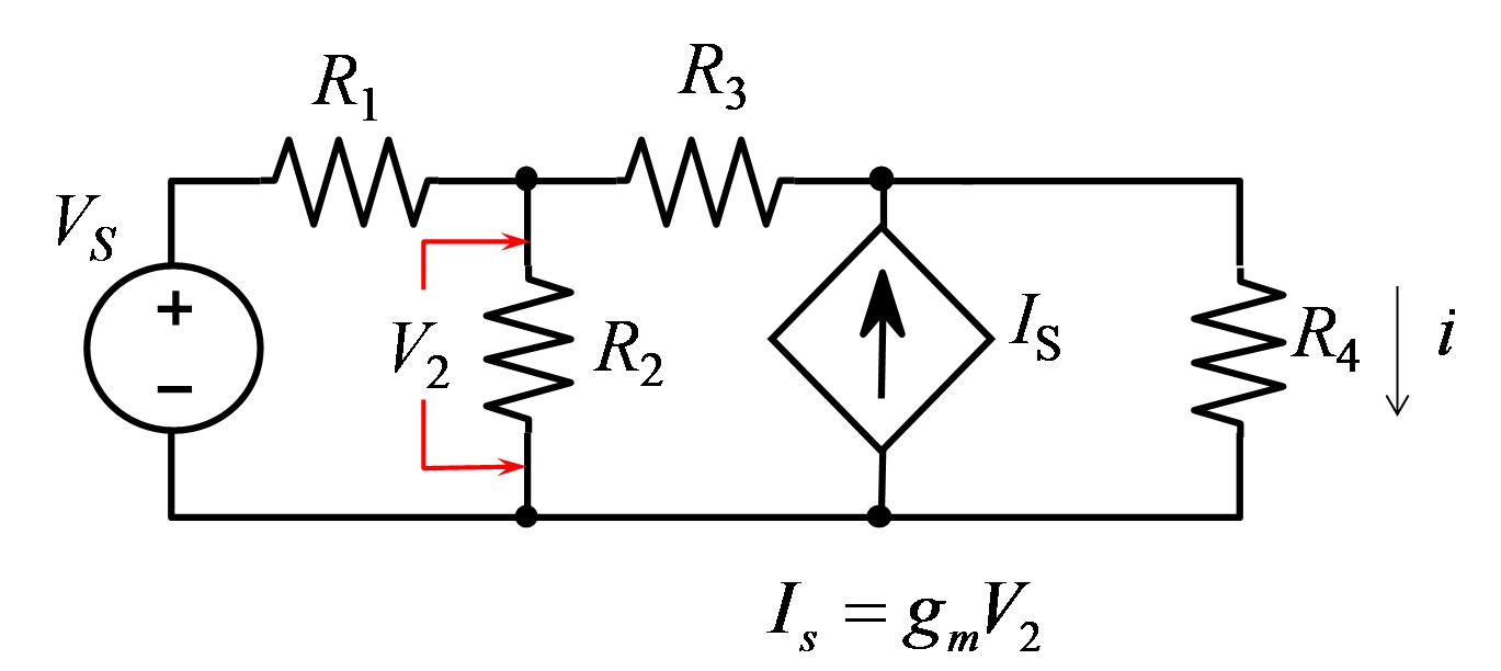 Find the current i in the circuit below R1: 50 ohm
