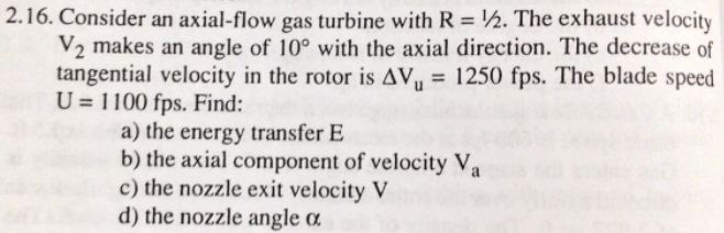 Consider an axial-flow gas turbine with R = 1/2. T
