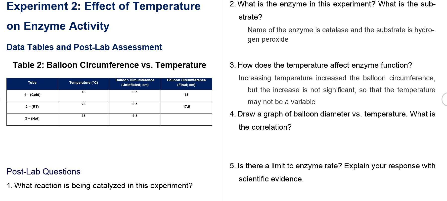 effects of temperature on catalase These results outline the effect of temperature on enzyme activity, and it is apparent that changes in temperature do have an effect on the enzyme catalase conclusion explanation the results obtained give increased insight into the role of enzymes in the human body.