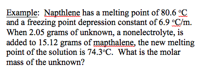 Napthlene has a melting point of 80.6 degree and