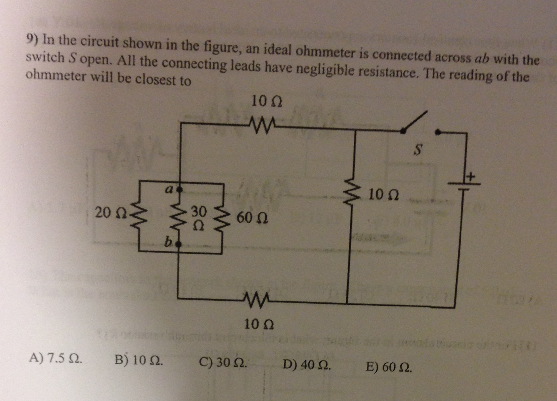 Solved: In The Circuit Shown In The Figure, An Ideal Ohmme ... for Ohmmeter Drawing  59nar