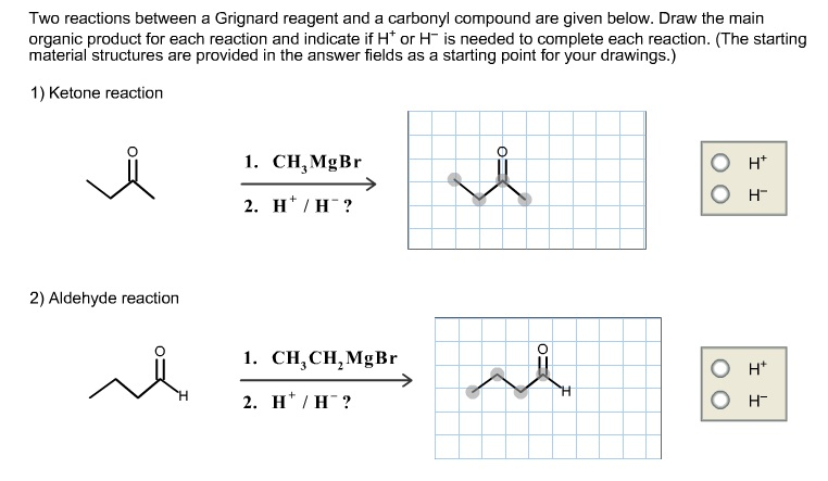 Two reactions between a Grignard reagent and a car
