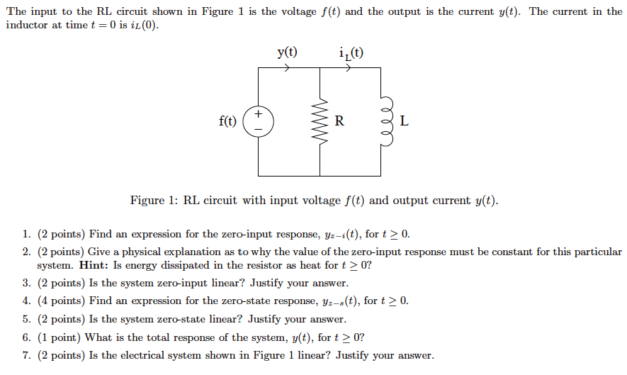 The input to the RL circuit shown in Figure 1 is t