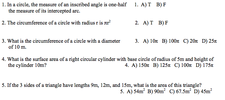 In a circle, the measure of an inscribed angle is
