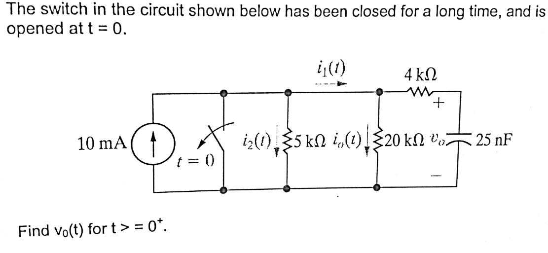 The switch in the circuit shown below has been clo