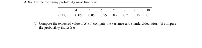 For the following probability mass function: (a)