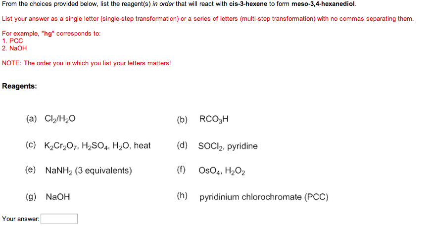 From the choices provided below, list the reagent(