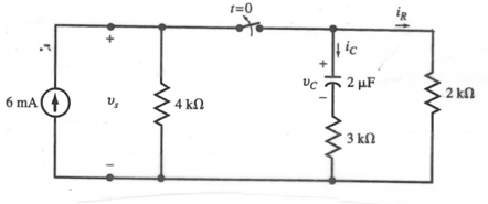 in the circuit the switch is opened at t=0. find c