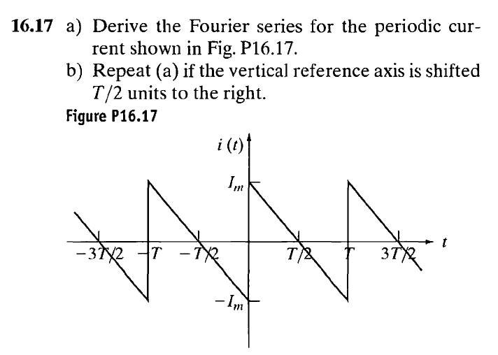 Derive the Fourier series for the periodic current