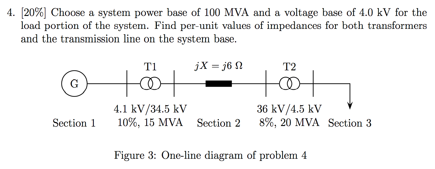 Choose a system power base of 100 MVA and a voltag