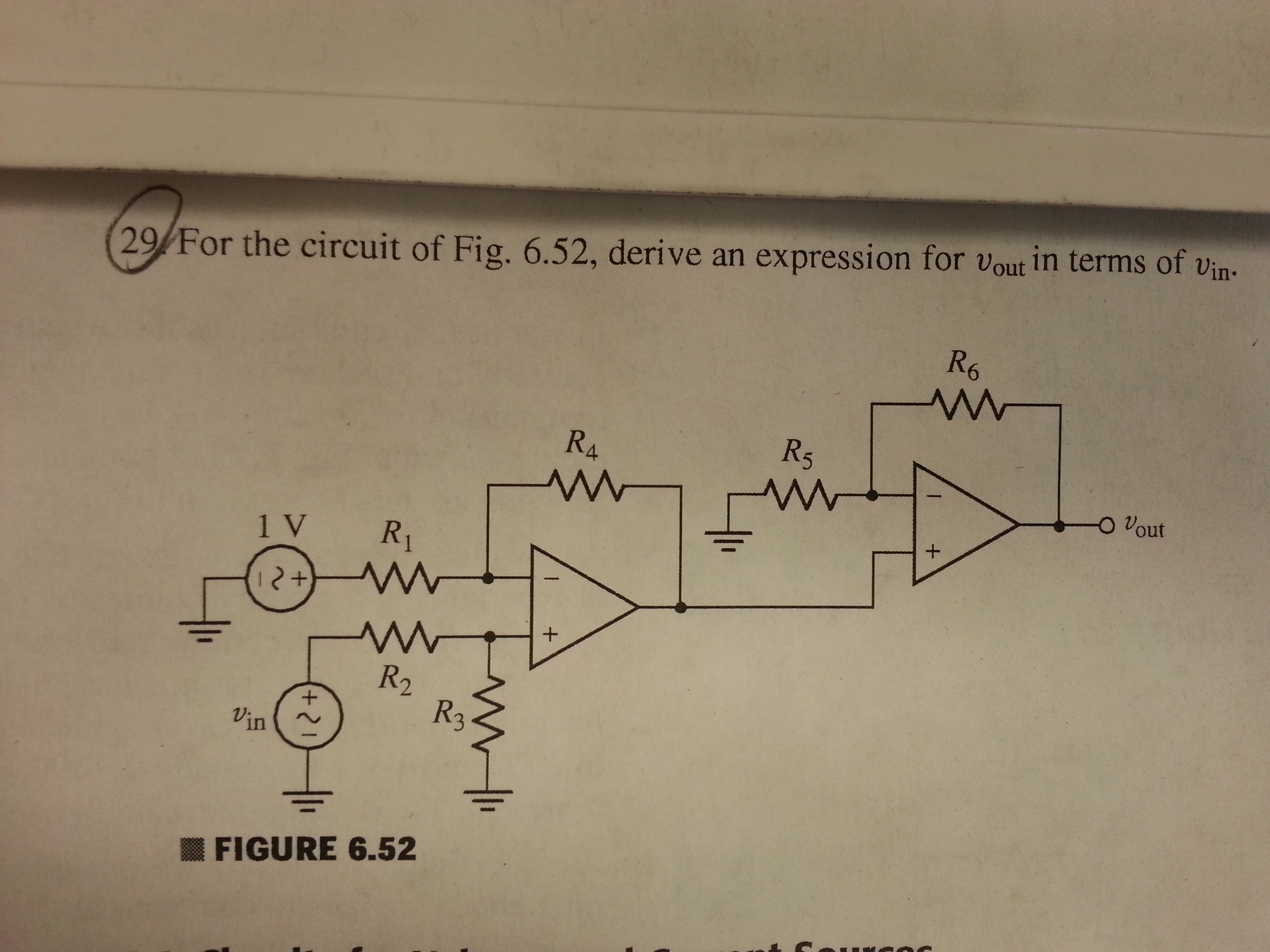For the circuit of Fig. 6.52, derive an expression