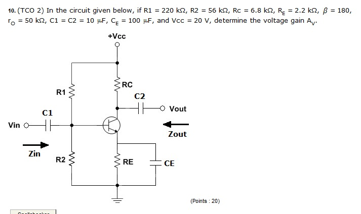 In the circuit given below, if R1 = 220 k Ohm, R2