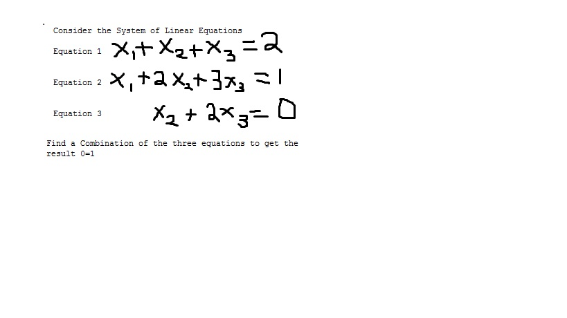 Consider the System of Linear Equations Equation