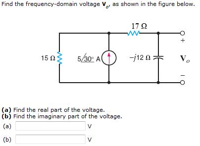 Find the frequency-domain voltage V0, as shown in