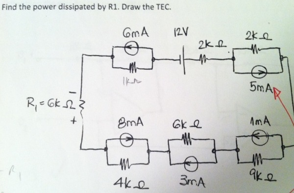 Find the power dissipated by R1. Draw the TEC.
