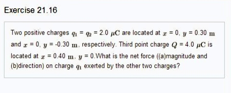 Two positive charges q1 = q2 = 2. 0 mu C are locat