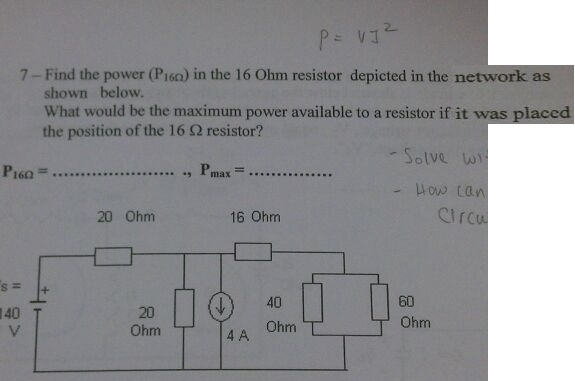 P = VJ2 Find the power (P16 Ohm) in the 16 Ohm re