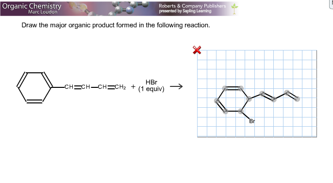 Draw the major organic product formed in the follo