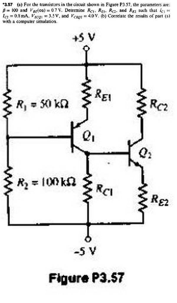 For the transistors in the circuit shown in , the