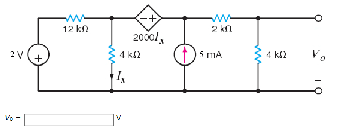 solved  use nodal analysis to find vo in the circuit in th