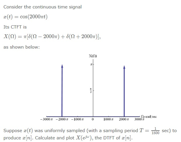 Consider the continuous time signal x(t) = cos (2