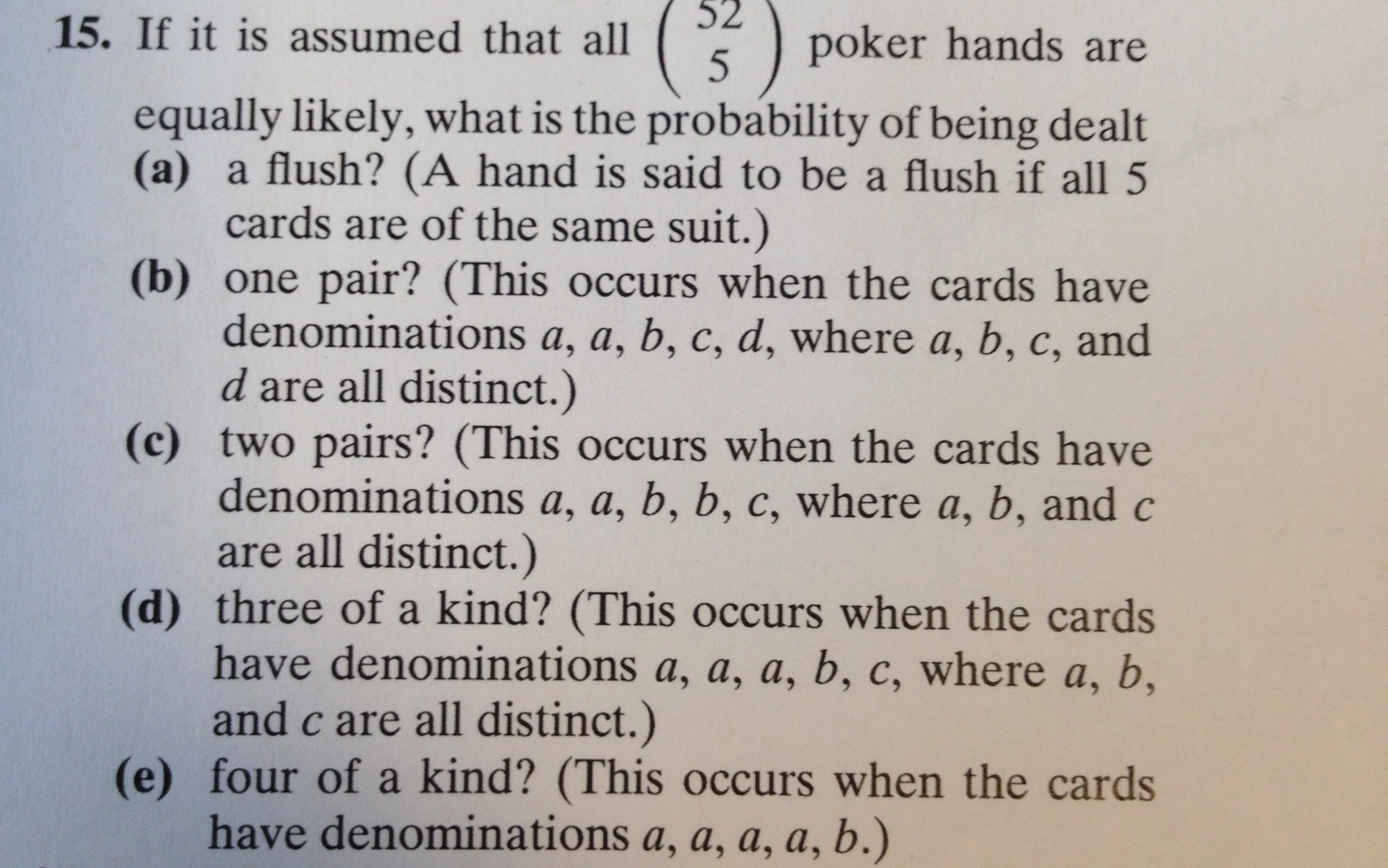 odds of being dealt a flush in poker