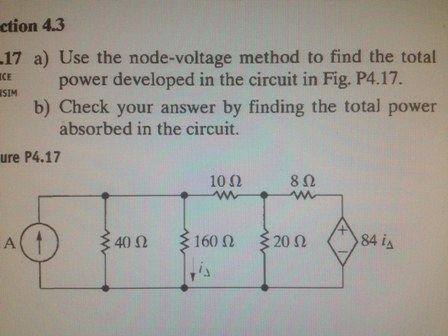 Use the node-voltage method to find the total powe