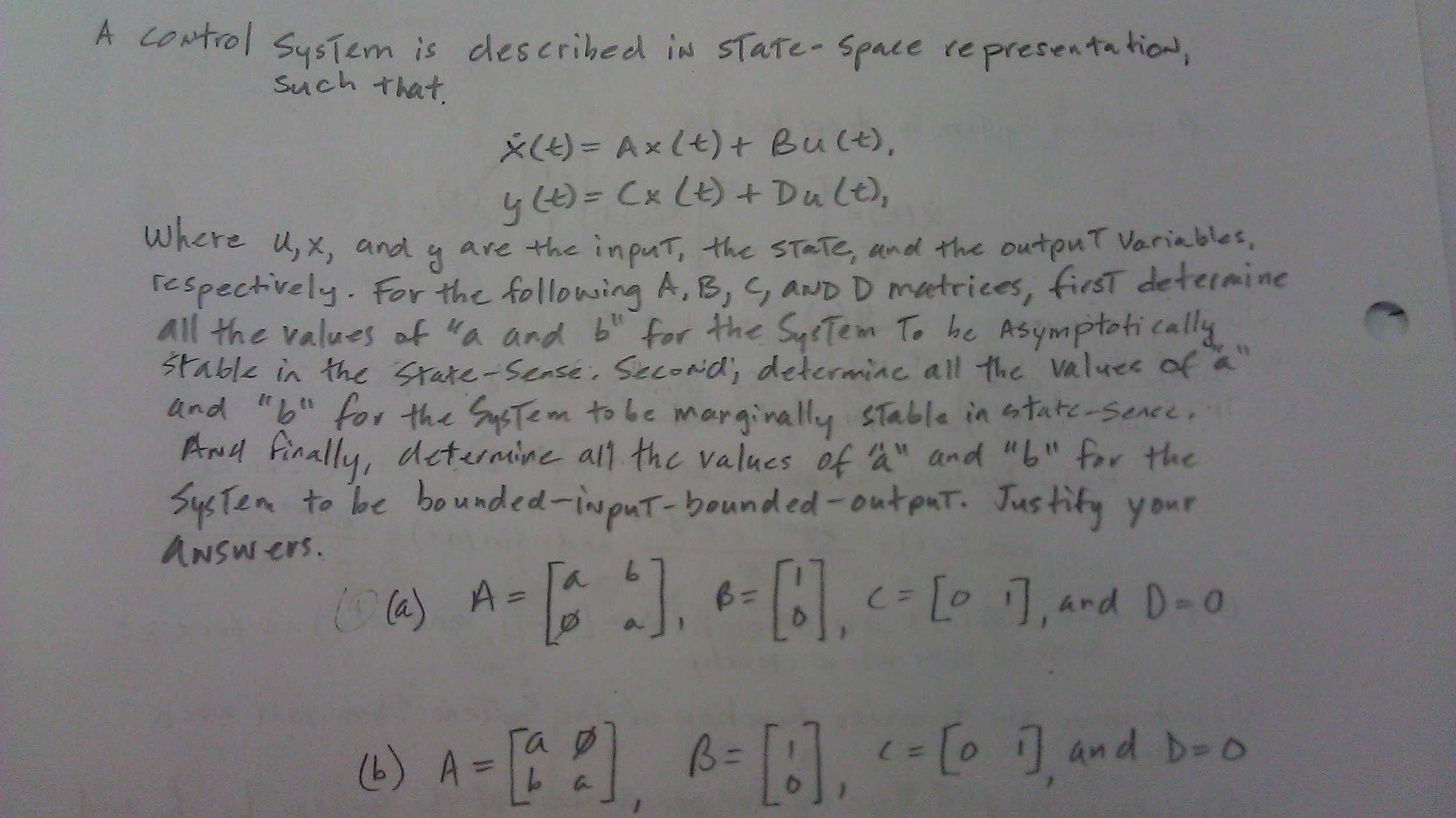 A control system is described in state-space repre