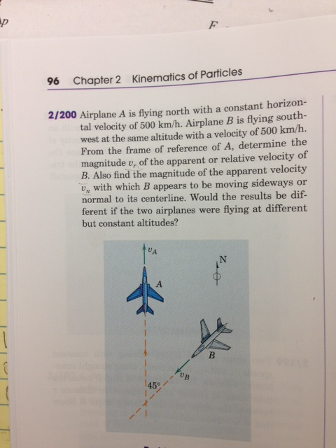 2/200 Airplane A is flying north with a constant h