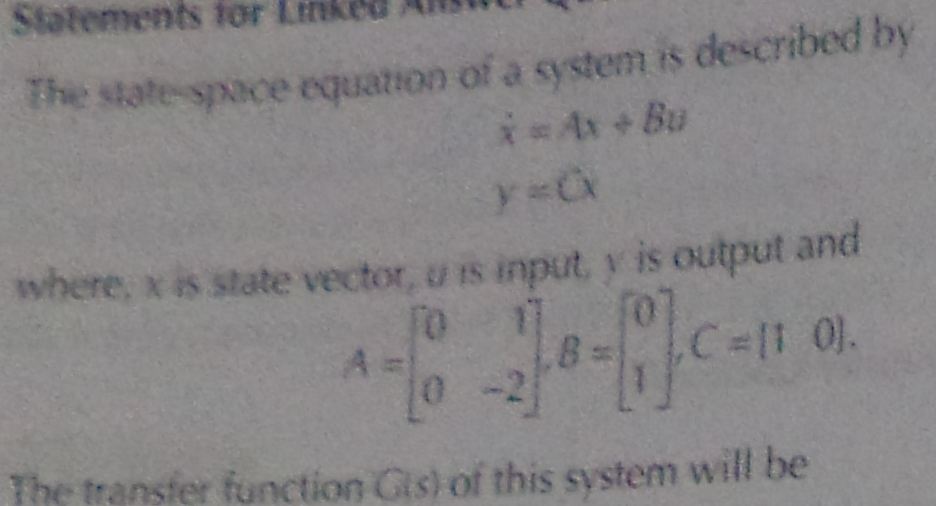The state space equation of a system is described