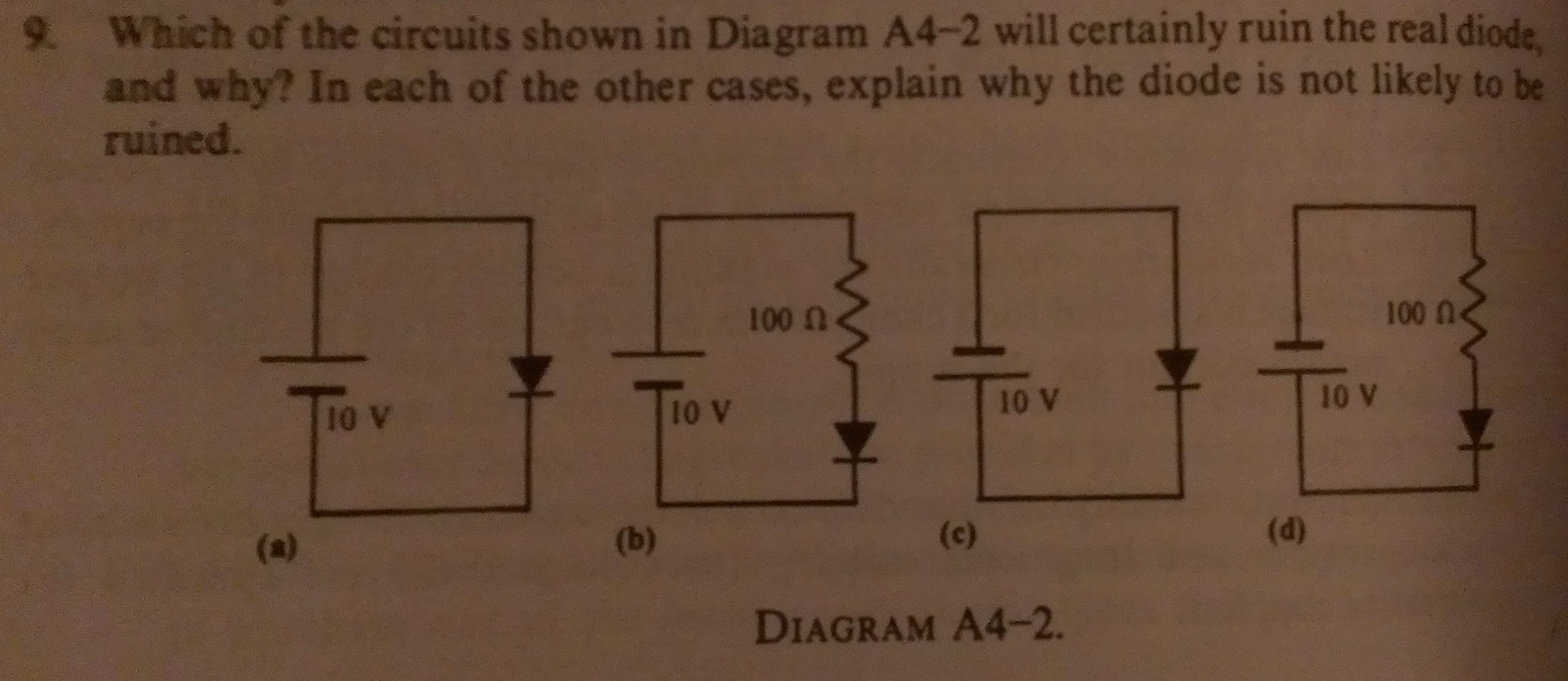 Which of the circuits shown in Diagram A4-2 will c