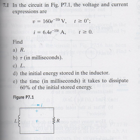 In the circuit in Fig. P7.1, the voltage and curre