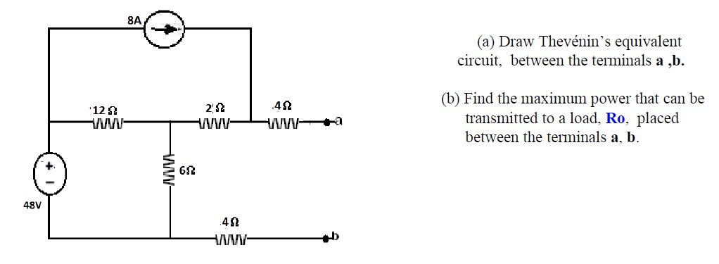 Draw Thevénin's equivalent circuit, between the