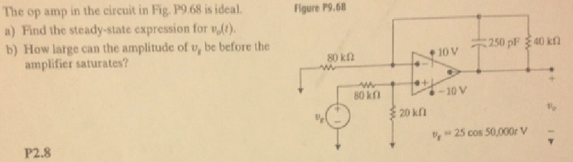 The op amp in the circuit in Fig P9.68 is ideal. F