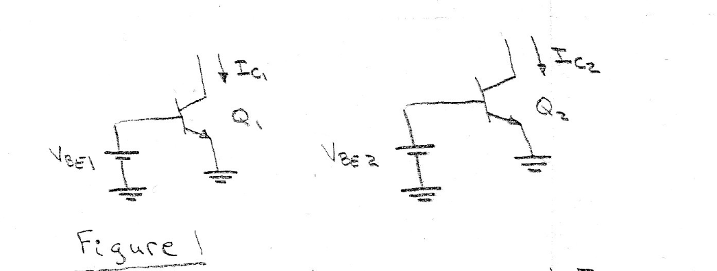 The circuit shown in Figure 1 has Ic1 = Ic2 and VB
