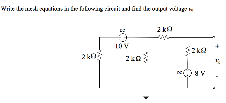 Write the mesh equations in the following circuit